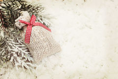 Vintage Christmas gift bag decoration background Royalty Free Stock Images
