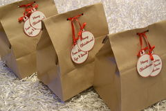 Vintage christmas gift bags Stock Photography