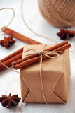 Vintage Christmas gift box. On white wooden background Royalty Free Stock Photo