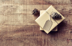 Vintage Christmas Gift Boxes on Wooden Background. Top view. Copy space Stock Photos