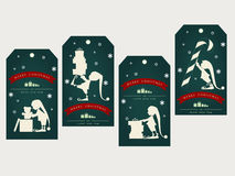 Vintage christmas gift tags with cute elf Stock Photography