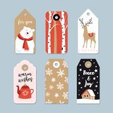Vintage Christmas gift tags set. Hand drawn labels with birch trees, deer, polar bear and tea pot. Isolated vector. Vintage Christmas gift tags set. Hand drawn royalty free illustration