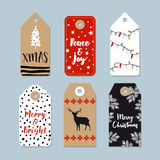 Vintage Christmas gift tags set. Hand drawn labels with Christmas tree, deer , stars and lights.   illustration Stock Photography