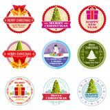 Vintage christmas gift vector labels, banners and tags with typographic elements. Xmas label, and new year holiday sticker illustration Royalty Free Stock Image