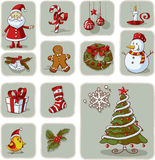 Vintage Christmas Graphic Elements Hand Drawn Vector Stock Image