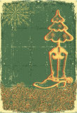 Vintage christmas green card Royalty Free Stock Photography