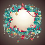 Vintage Christmas greeting banner. Vintage Christmas festive ornate banner Royalty Free Stock Photos