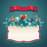 Vintage Christmas greeting banner set. Vintage Christmas festive ornate banner Royalty Free Stock Images