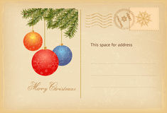 Vintage Christmas greeting card. Christmas greeting card with baubles in retro style. Vector illustration Royalty Free Stock Photo