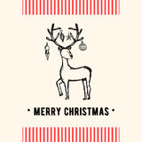 Vintage Christmas greeting card. Christmas and holiday card with deer in retro style. Vector Illustration. Royalty Free Stock Photos
