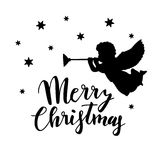Vintage Christmas greeting card, invitation with silhouette of angel blowing trumpet and stars. Handwritten Merry Christmas. Royalty Free Stock Image