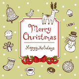 Vintage Christmas greeting card Stock Photo