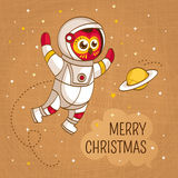 Vintage Christmas greeting card with owl astronaut Stock Photography