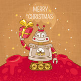Vintage Christmas greeting card with robot Royalty Free Stock Images