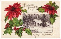 Vintage Christmas Greeting Postcard Poinsettias. Antique Christmas postcard from the 1900s.  Christmas Greeting. Featuring a red poinsettias framing a snow Royalty Free Stock Photos