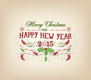 Vintage christmas and happy new year card Royalty Free Stock Photo