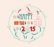 Vintage christmas and happy new year card Royalty Free Stock Images