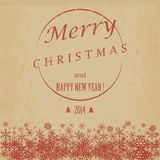 Vintage Christmas and Happy New Year card. Vector  Stock Image