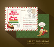 Vintage Christmas and Happy New year holiday postcard background Stock Photo