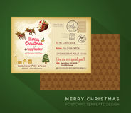 Vintage Christmas and Happy New year holiday postcard background Stock Images