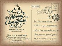 Vintage Christmas and Happy New year holiday postcard background. Vector for party invitation card Stock Photos