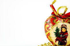 Vintage christmas heart. In white background Royalty Free Stock Image
