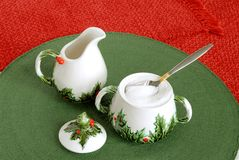 Vintage Christmas Holiday Creamer and Sugar Bowl Stock Photo