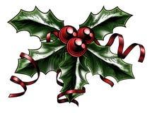 Vintage Christmas Holly Illustration royalty free illustration
