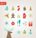Vintage Christmas icons eps 10 Stock Photos