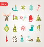 Vintage Christmas icons set eps 10 Royalty Free Stock Photos