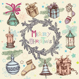 Vintage Christmas illustration Royalty Free Stock Images