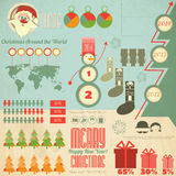 Vintage Christmas Infographic with Santa Claus Royalty Free Stock Images