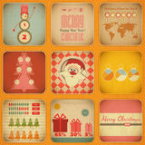Vintage Christmas Infographic with Santa Claus Royalty Free Stock Photos