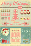 Vintage Christmas Infographic with Santa Claus Stock Photography