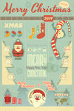 Vintage Christmas Infographic with Santa Claus Stock Photos