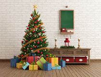 Vintage Christmas interior Stock Photos