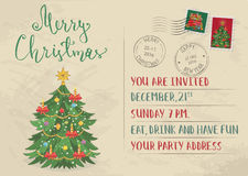 Vintage Christmas Invitation with Postage Stamps Stock Photography