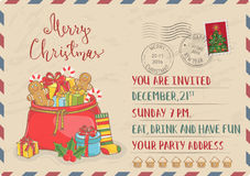 Vintage Christmas Invitation with Postage Stamps Royalty Free Stock Image