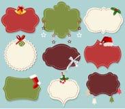 Vintage christmas label banner set. Colorful vintage christmas label banner set royalty free illustration
