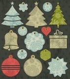 Vintage christmas labels over grunge brown backgro royalty free illustration