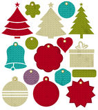 Vintage christmas labels with pattern of stitch, vector Royalty Free Stock Photography