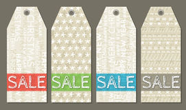 Vintage christmas labels with sale offer, vector royalty free stock image