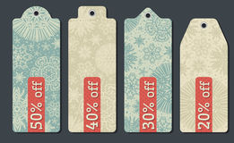 Vintage christmas labels with sale offer, vector Stock Image