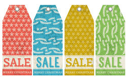 Vintage christmas labels with sale offer, vector Stock Photography