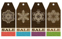 Vintage christmas labels with sale offer, vector. Illustration Royalty Free Illustration