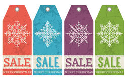 Vintage christmas labels with sale offer, vector Royalty Free Stock Photography
