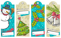 Vintage christmas labels with snowman, tree, bells Stock Photos
