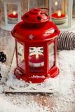 Vintage Christmas Lantern with Burning Candle Stock Photography