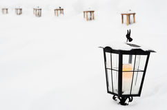 Vintage Christmas lantern with in the cemetery Stock Photography