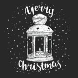 Vintage Christmas lantern and inscription. Vector illustration for a card or poster. New Year`s and Christmas. Winter. Beautiful light Royalty Free Stock Images